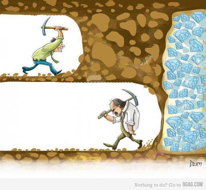 Don't give up image of a man digging for diamonds but gave up just as he was about to hit diamonds